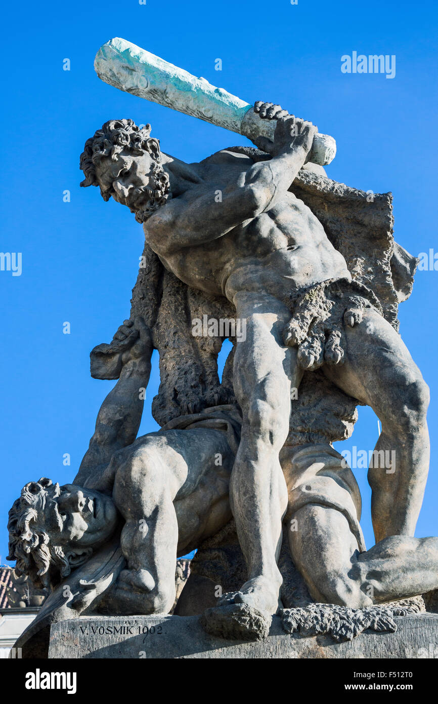 Prague, Castle district, the Fighting Giants statue above the castle gate entrance - Stock Image
