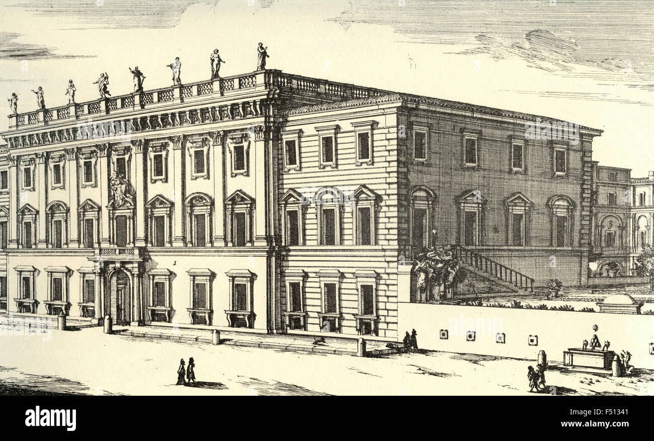 Illustration of Palace in the Piazza de Holy Apostles restored and adorned by Cardinal Flavio Chigi, Rome, Italy - Stock Image