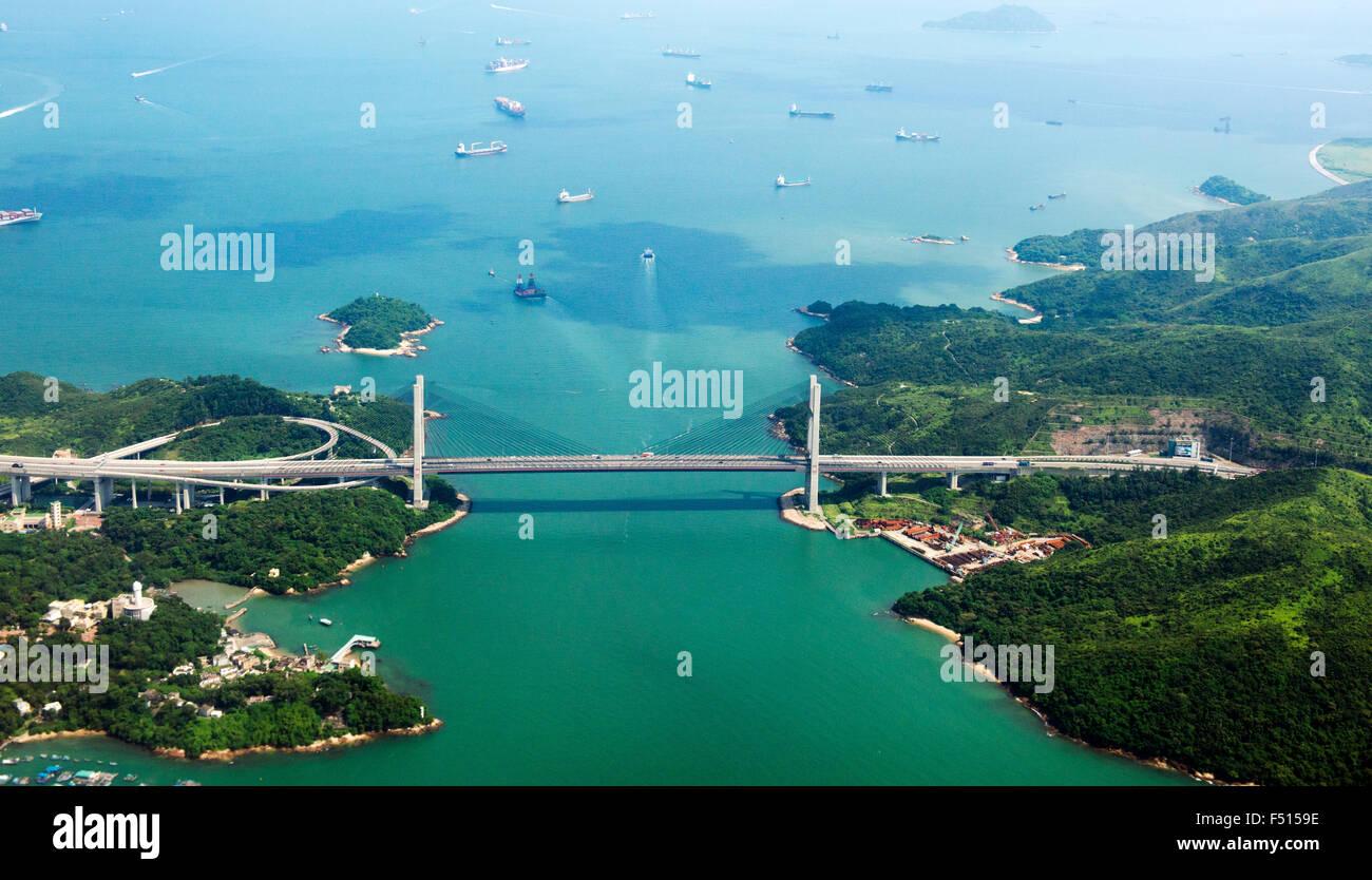 An aerial view of the Kap Shu Mun bridge in Hong Kong. - Stock Image