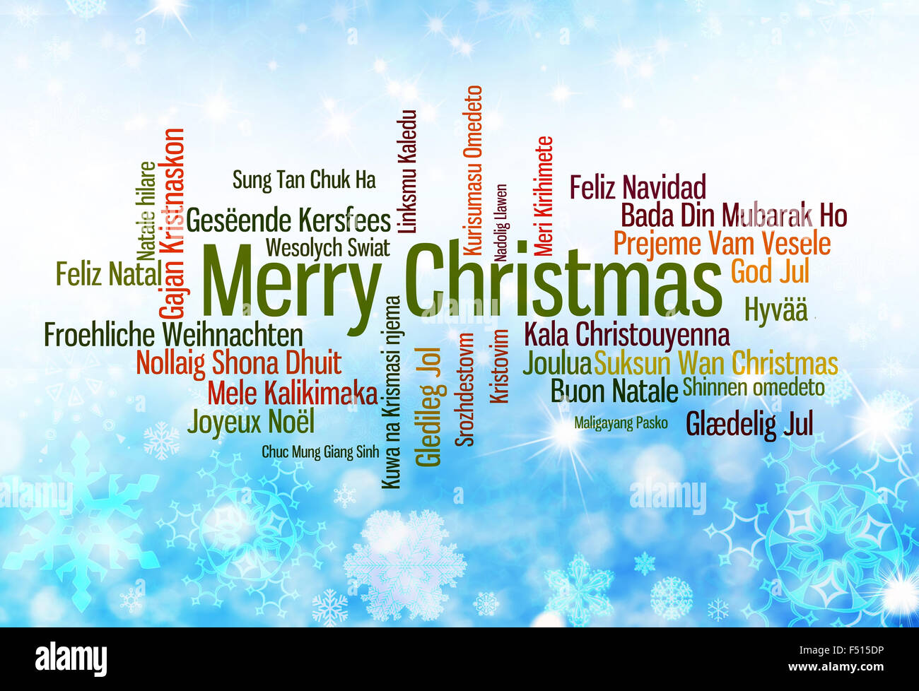 Christmas typography: Merry Christmas written in many languages - Stock Image