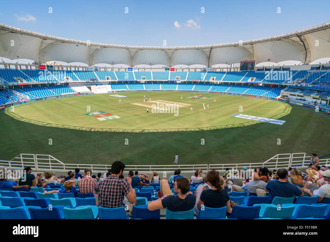 Cricket Test Match btwn England and Pakistan in October 2015 at Dubai International Cricket Stadium Dubai United - Stock Image