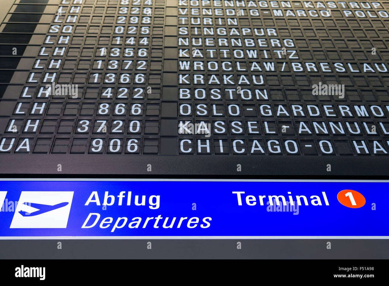 Part of the departure timetable at Terminal 1 of Frankfurt International Airport - Stock Image