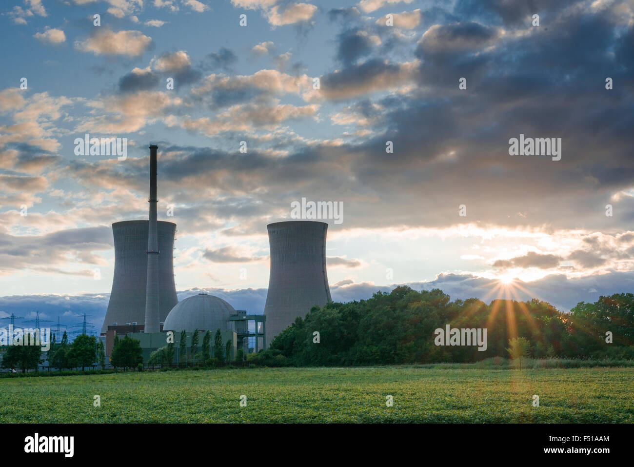 The nuclear powerplant Grafenrheinfeld, seen at sunset - Stock Image