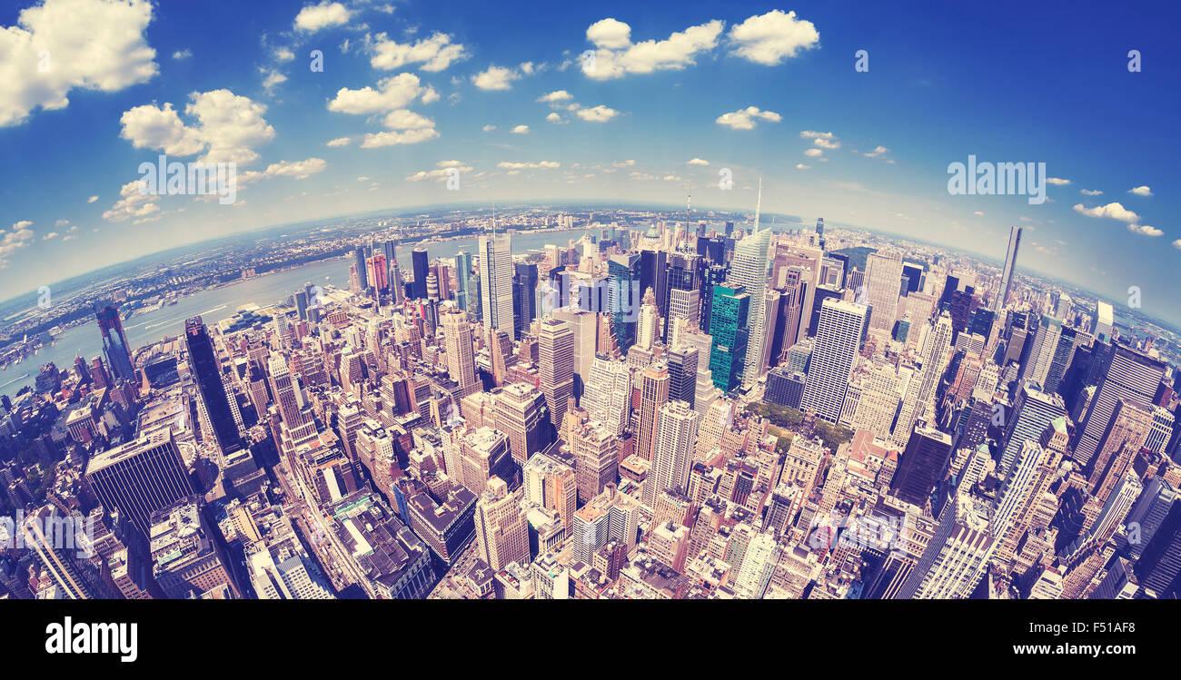 Vintage toned fisheye view of Manhattan, New York, USA. - Stock Image
