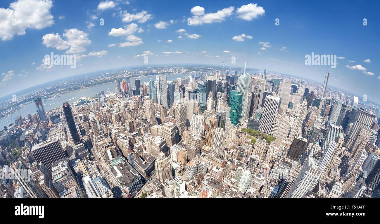 Fisheye lens aerial view of Manhattan, New York, USA. - Stock Image