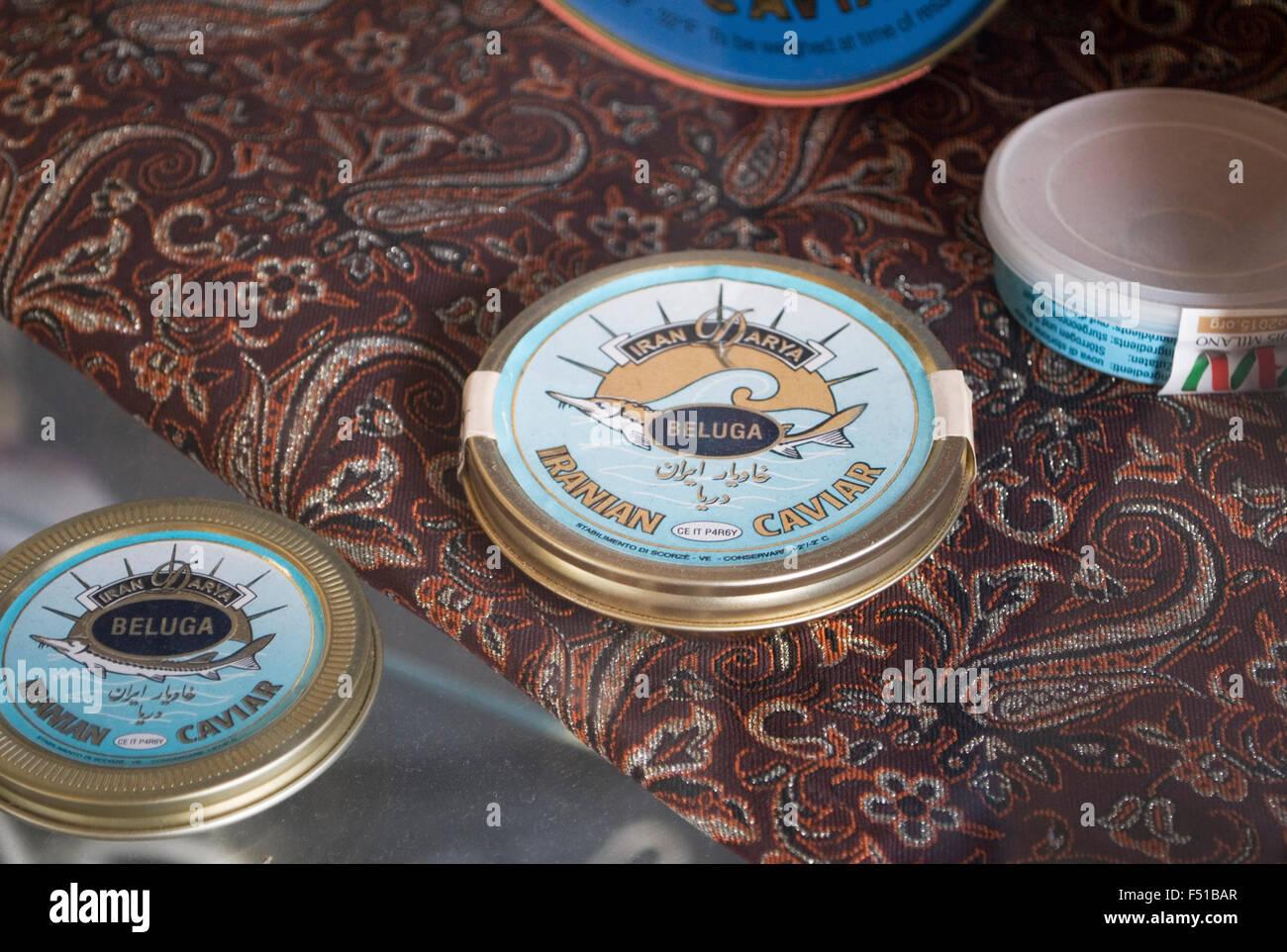 Iranian beluga caviar in a shop window - Stock Image