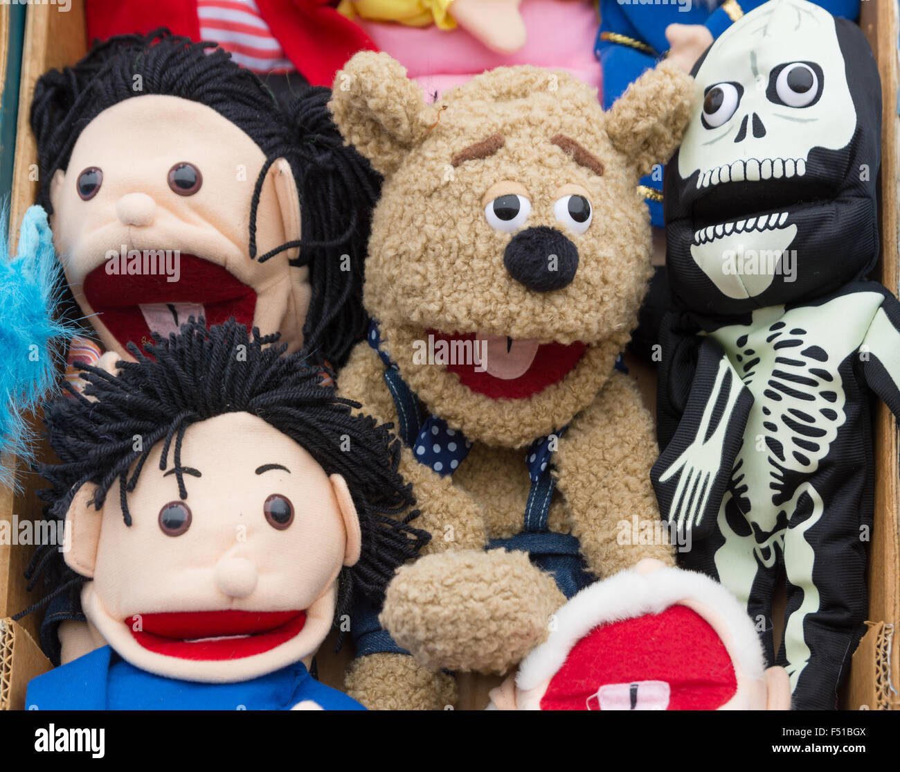 Cuddly toys and faces Stock Photo