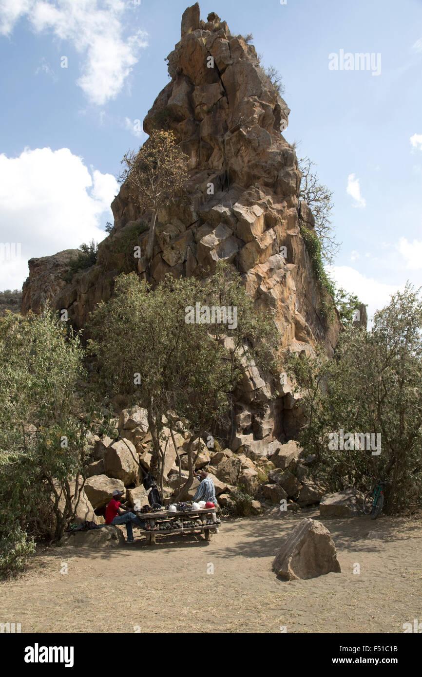 The volcanic column named Fischer's Rock Hell's Gate Rift Valley Kenya Stock Photo