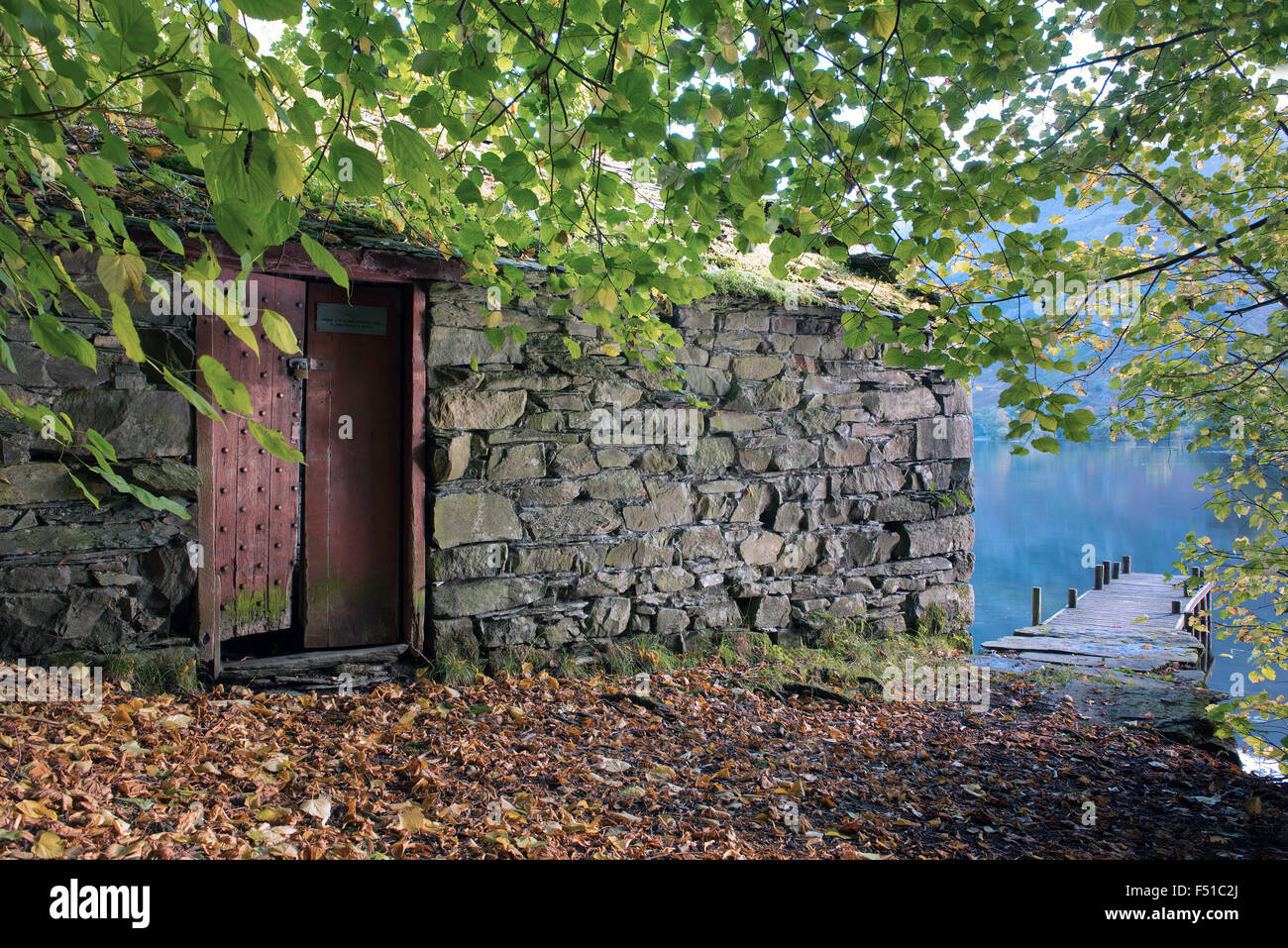 A Boathouse and Jetty on Ullswater Lake, The  Lake District National Park, Cumbria, England, Uk, Gb - Stock Image