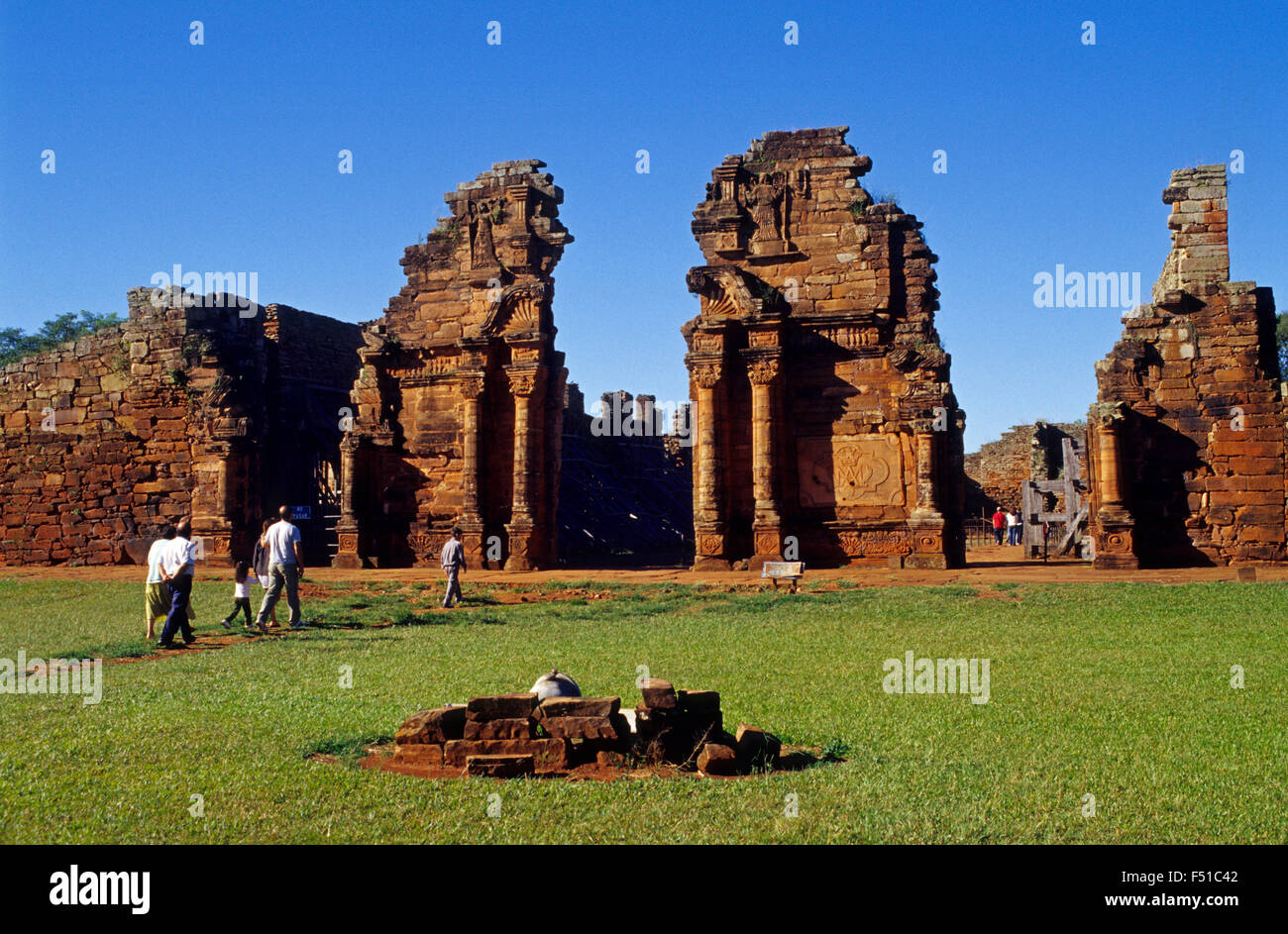 Church gate. Jesuit Mission of San Ignacio Mini ruins. Misiones province. Argentina. - Stock Image