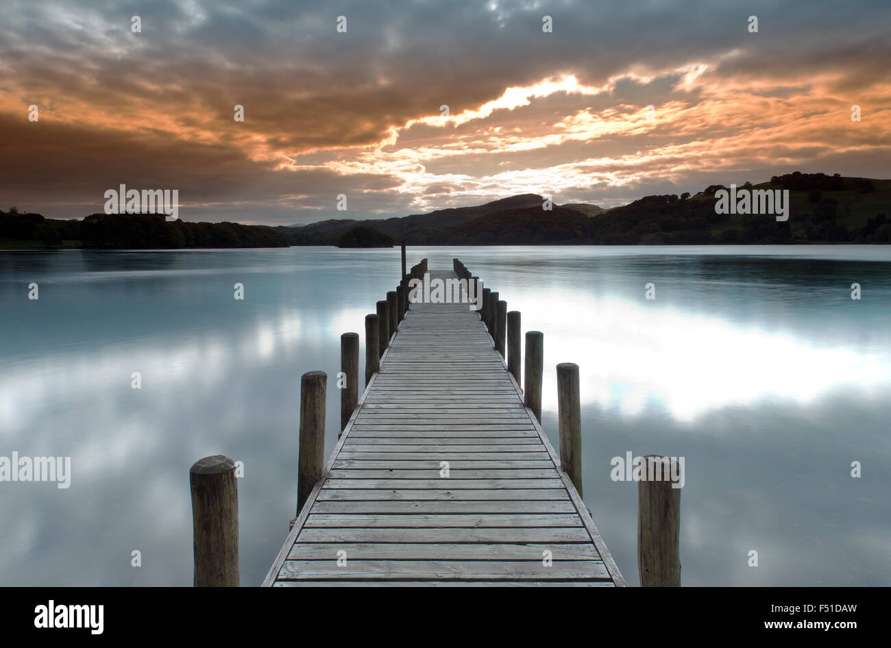 Parkamoor Jetty on Coniston Water,  Lake District, Cumbria, England, Uk, Gb. Stock Photo