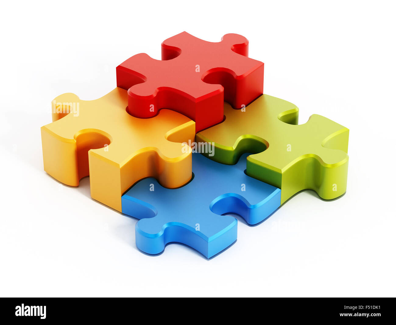 Multi colored puzzle pieces isolated on white background Stock Photo