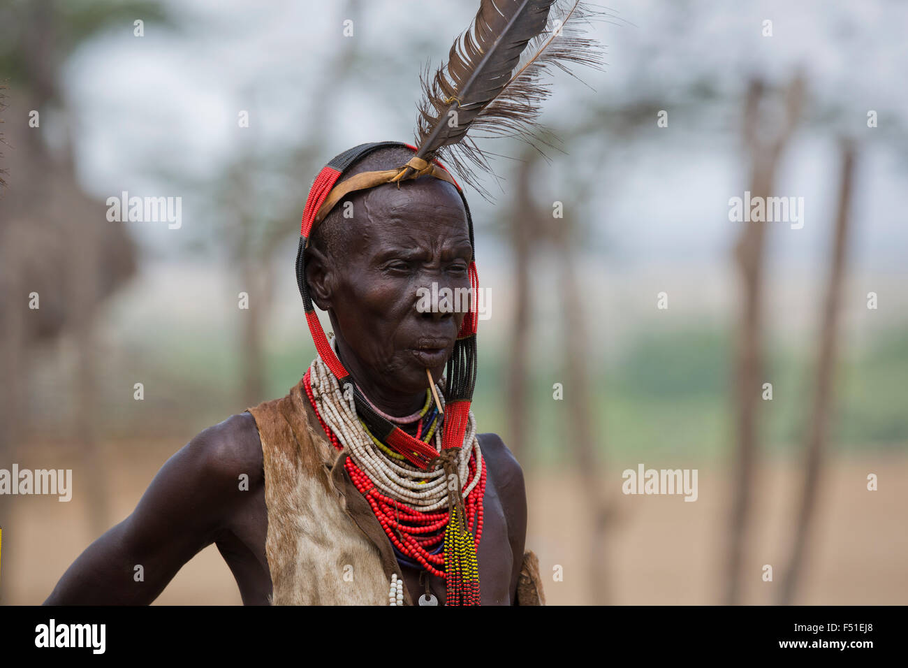 male Karo tribesman. Omo Valley, Ethiopia - Stock Image