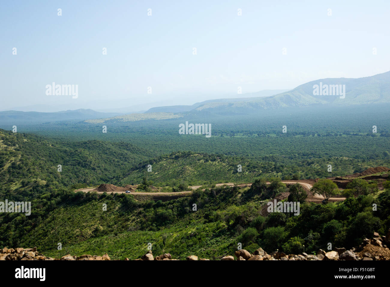 Elevated view over the Omo Valley in Mursi country, Ethiopia, Africa - Stock Image