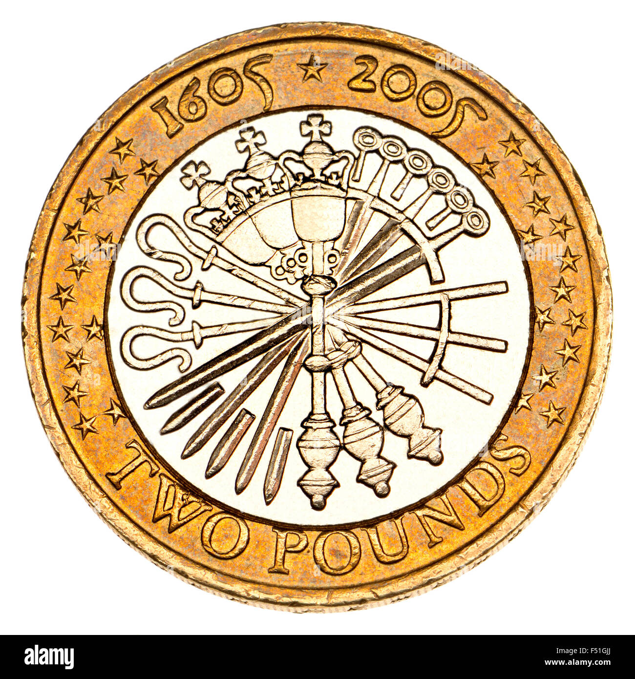 British £2 coin (2005) commemorating the 400th anniversary of the Gunpowder Plot. An arrangement of crossiers, - Stock Image