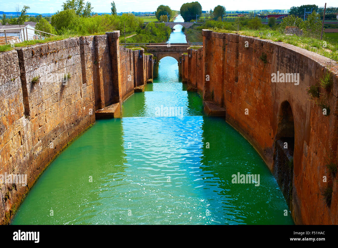 Canal de Castilla Channel by Saint James Way in Fromista Castilla Leon of Spain - Stock Image