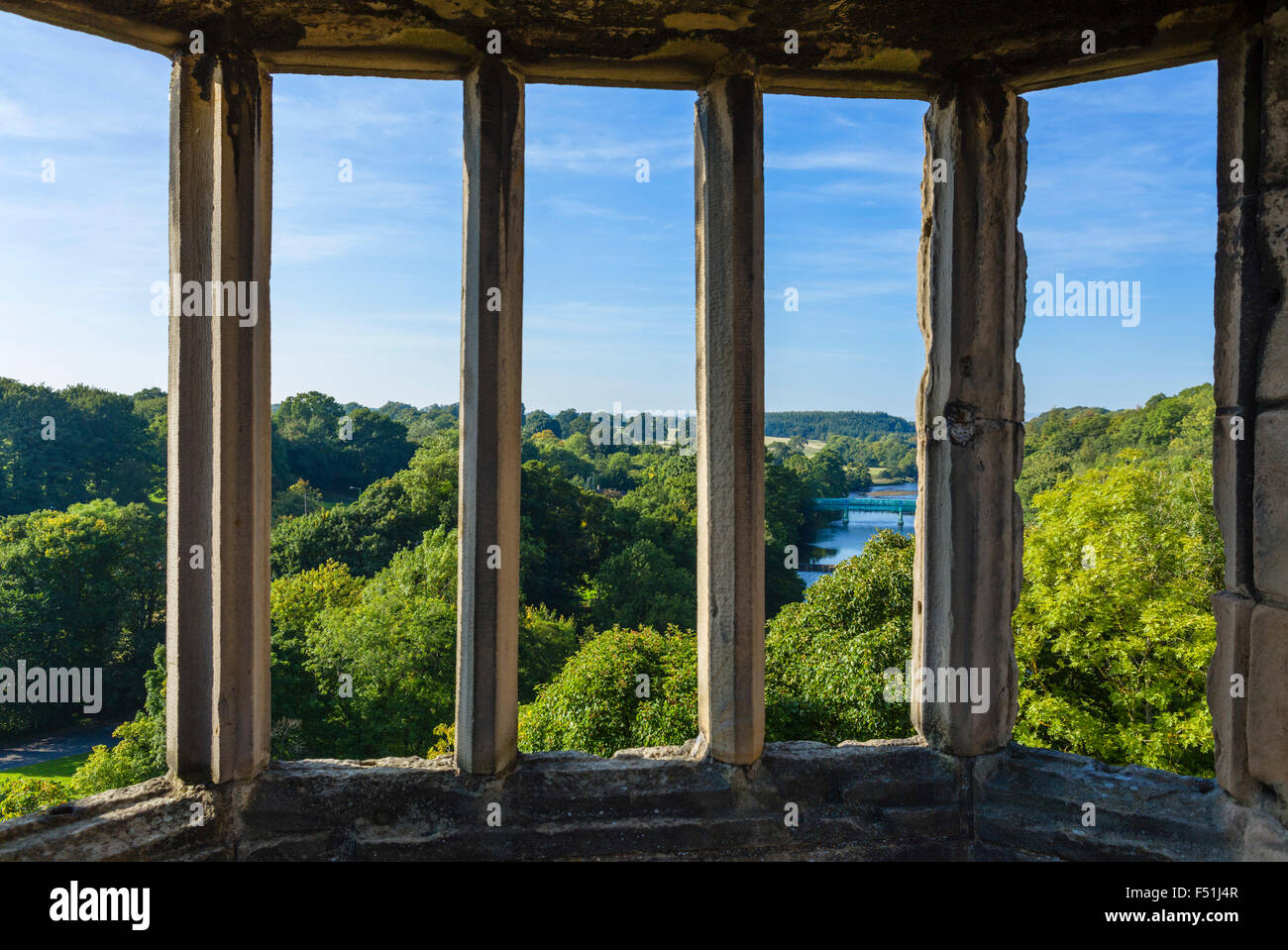 View over the River Tees from the castle in the town of Barnard Castle, County Durham, England, UK - Stock Image
