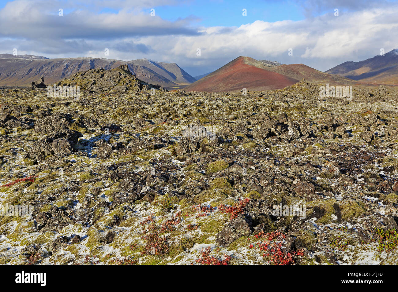 View of Berserkjahraun Lava Field in the autumn with red mountain in the background and snow on the lava - Stock Image
