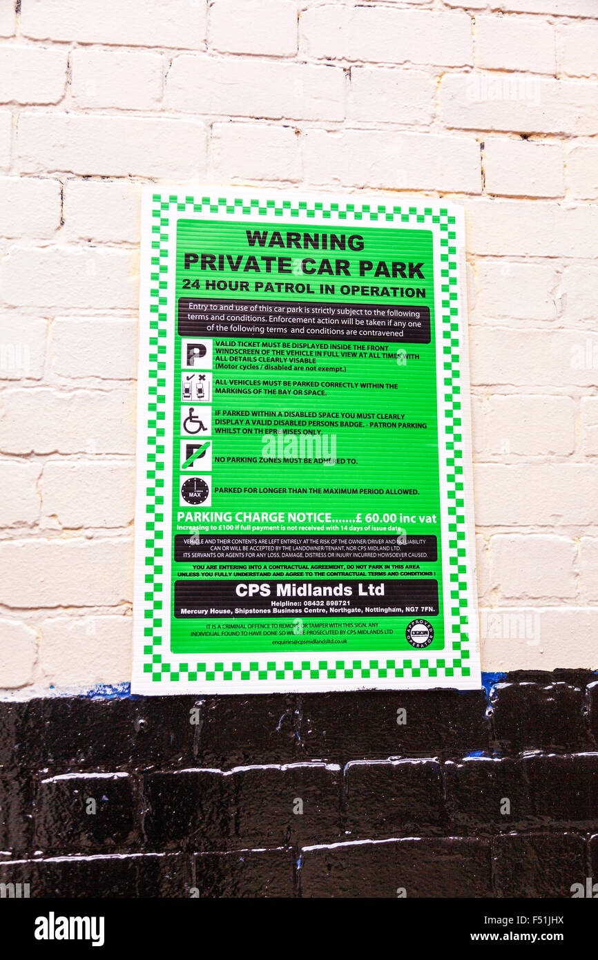 Private car park sign parking rules charge 24 hour patrol charges  Nottingham City UK England Nottinghamshire no - Stock Image
