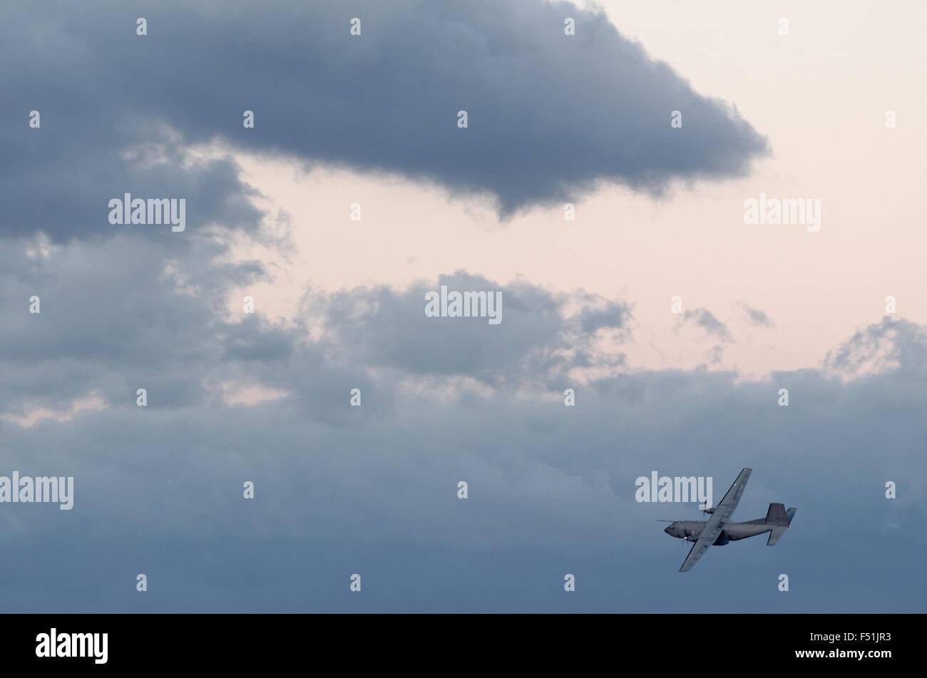 The Transall C160 of Transport Squadron Overseas 50 Reunion (Air Detachment 181) in flight - Stock Photo