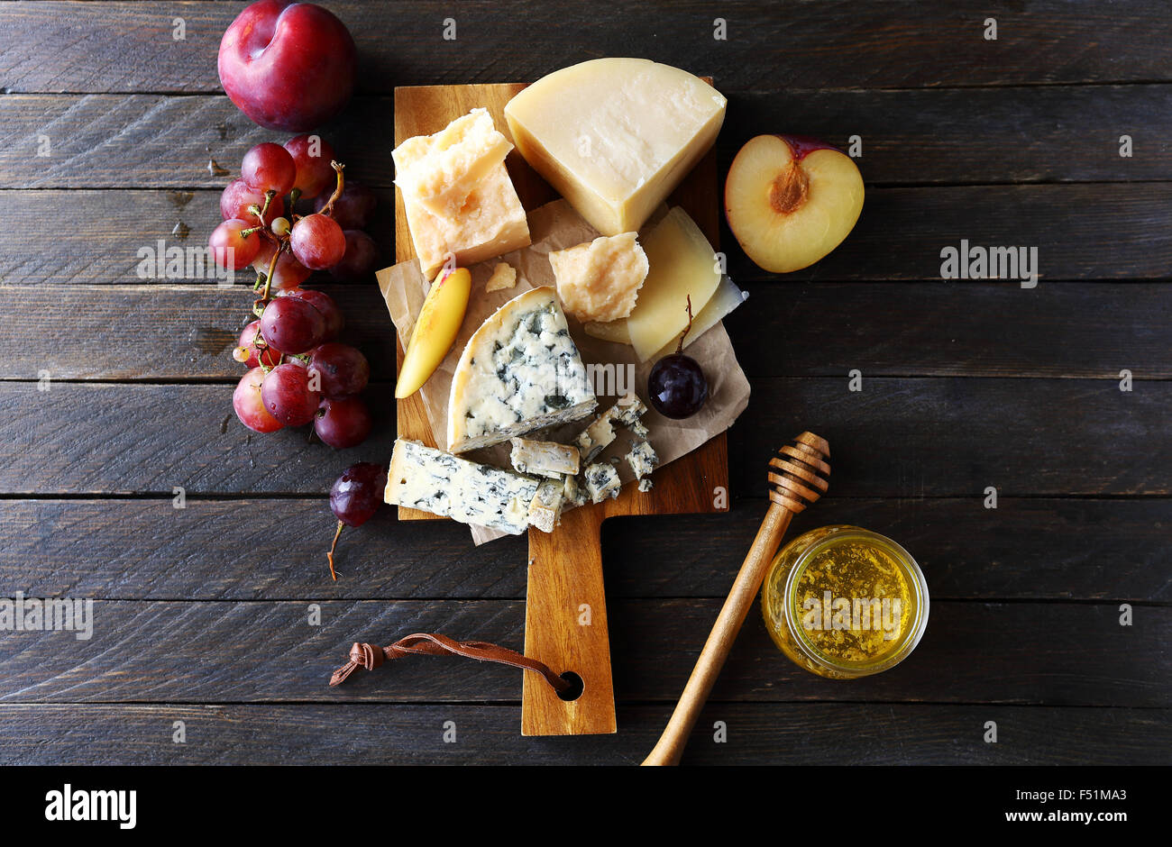 dark cheese composition, top view - Stock Image
