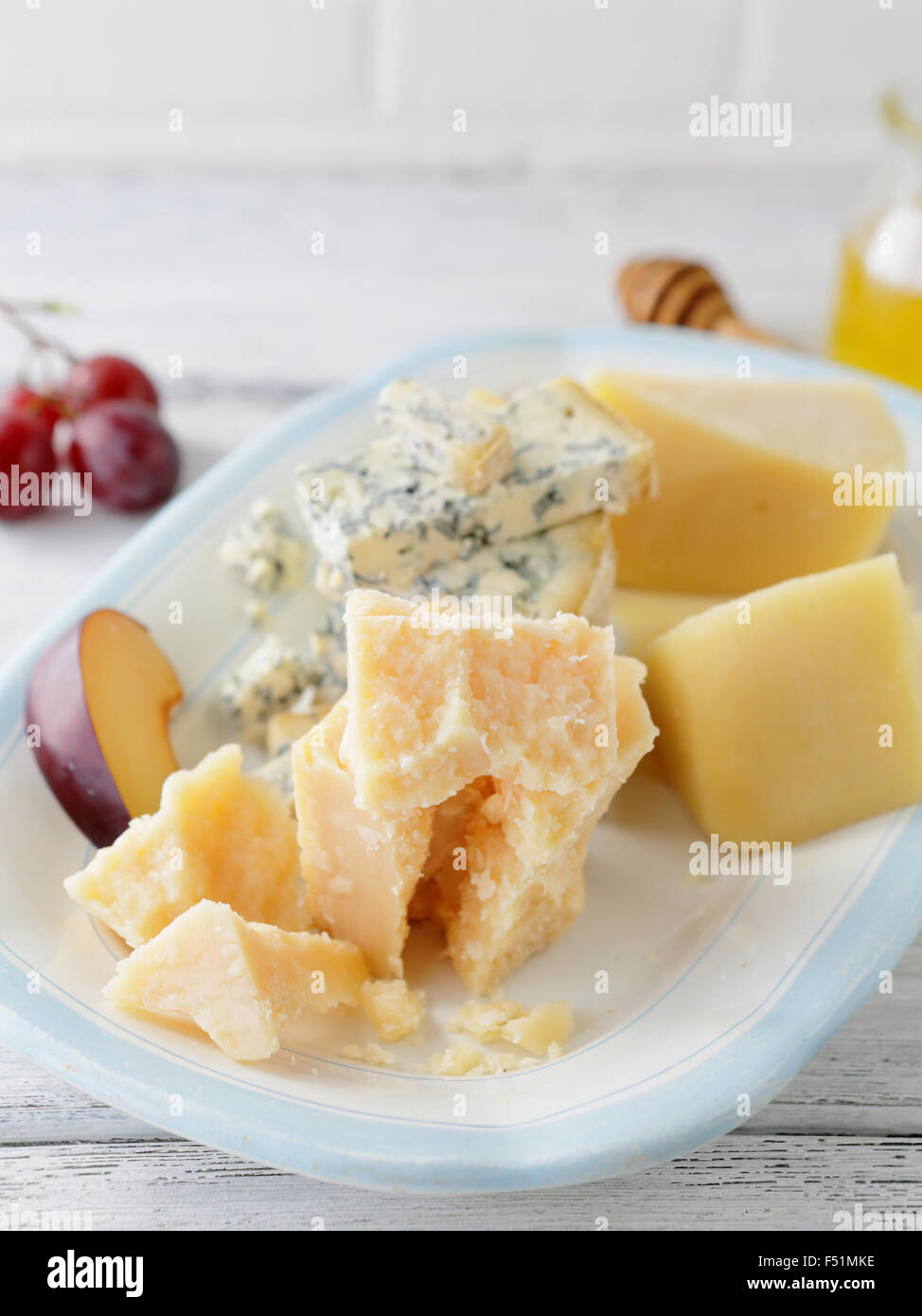 chucks of cheeses close-up, food Stock Photo