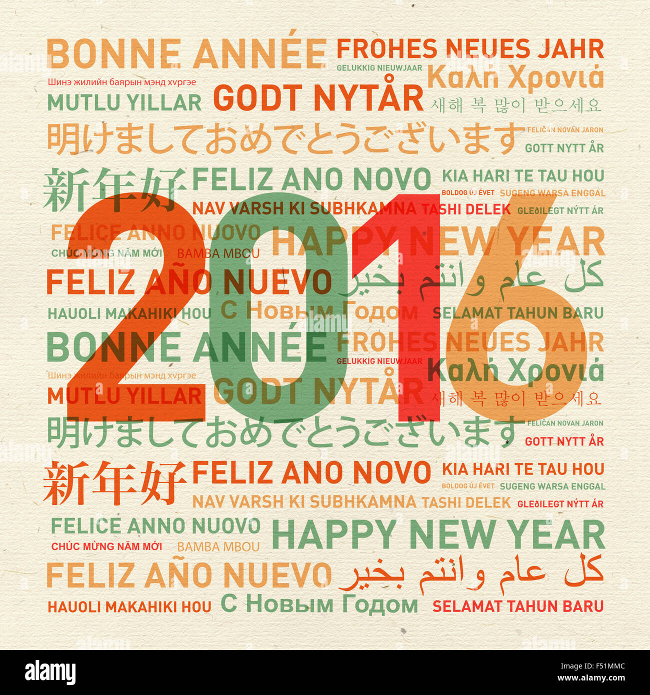Happy New Year Vintage Card From The World In Different Languages