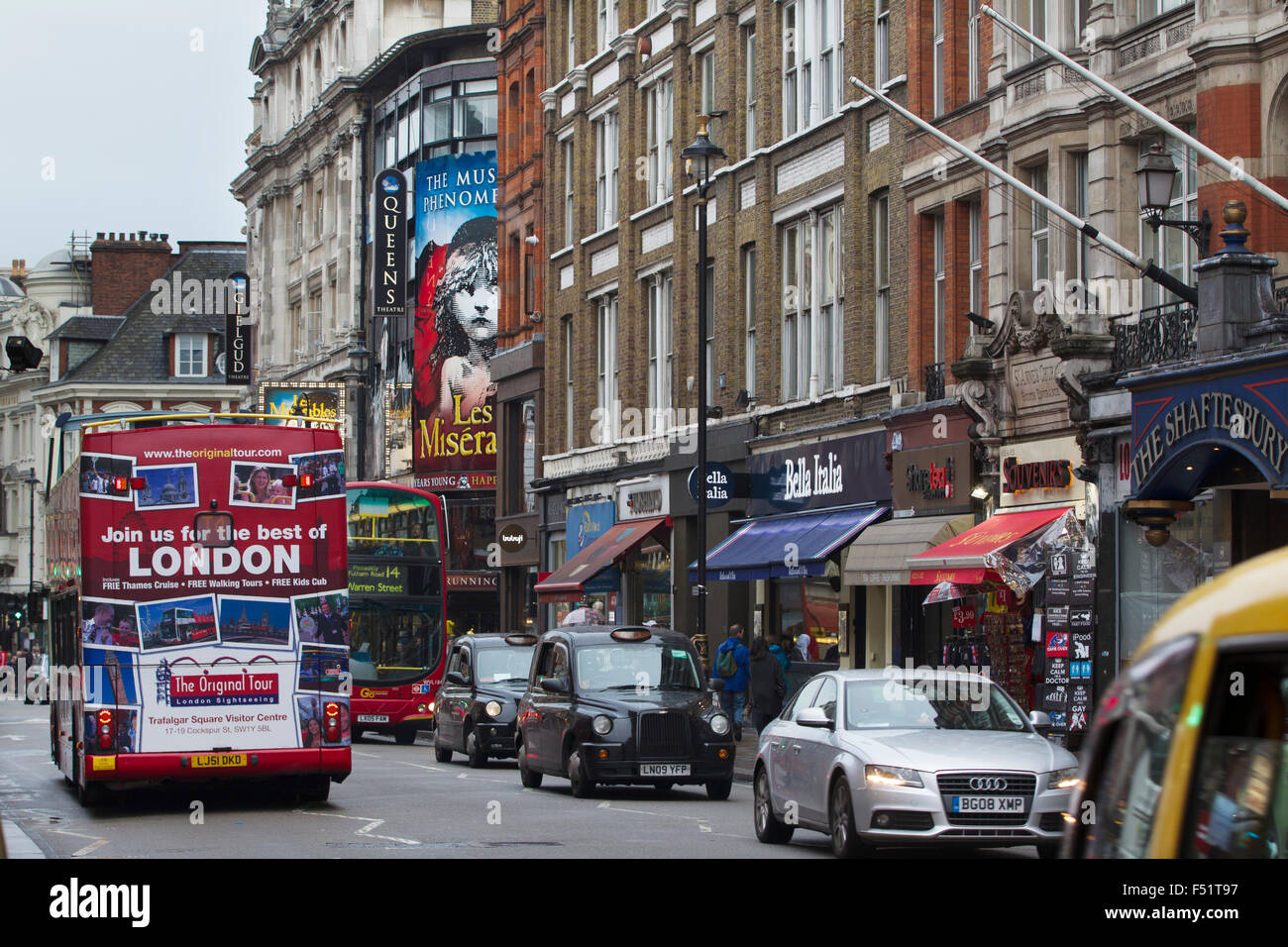 Shaftesbury Avenue, West End, Central London, England United Kingdom - Stock Image
