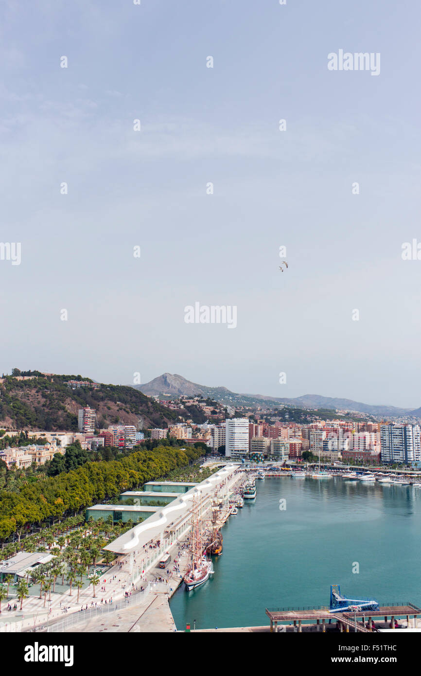 Malaga, Costa del Sol, Malaga Province, Andalusia, southern Spain. High view over the port, Muelle Uno. - Stock Image