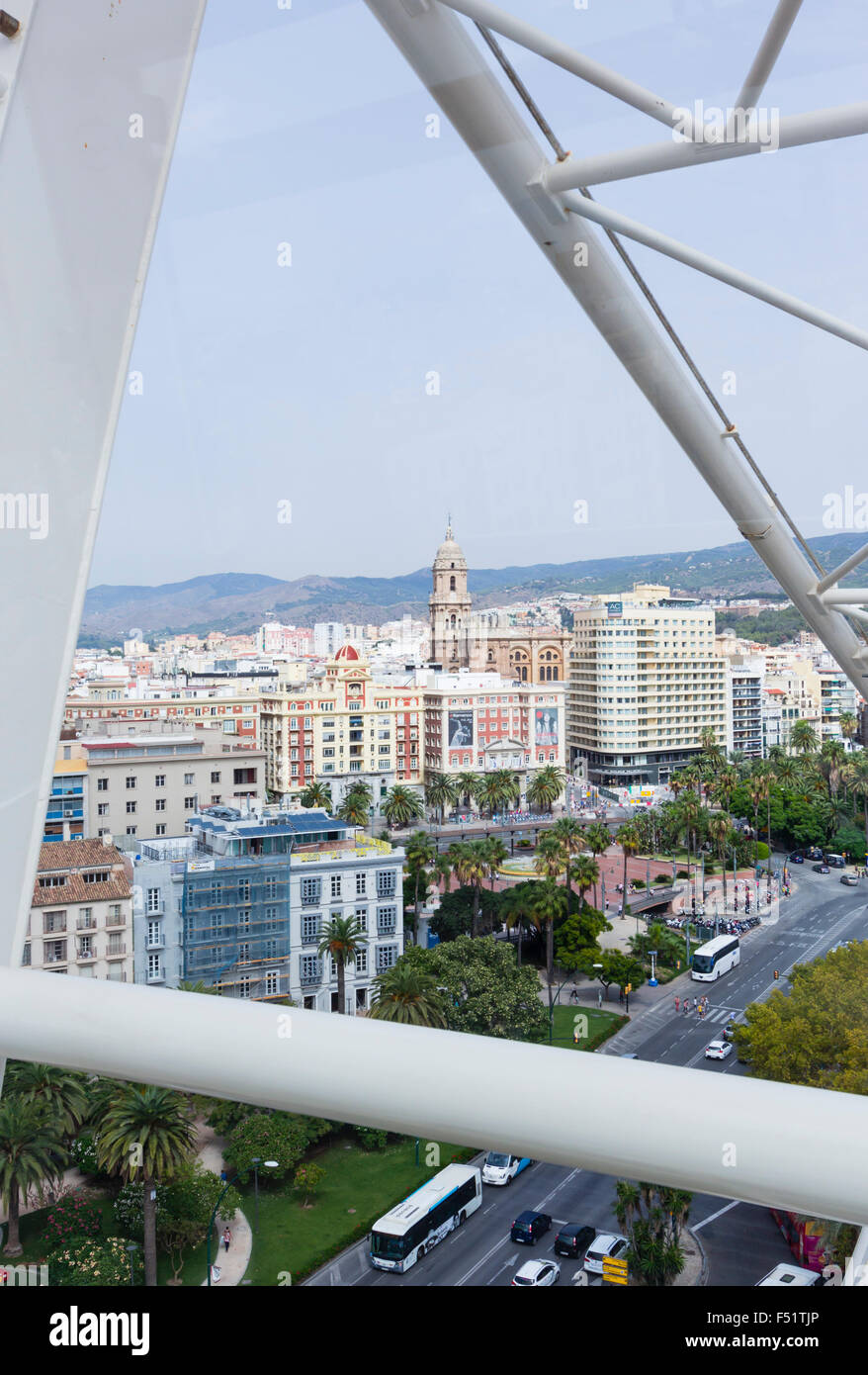 Malaga, Costa del Sol, Malaga Province, Andalusia, southern Spain.  Aerial view of city centre. - Stock Image