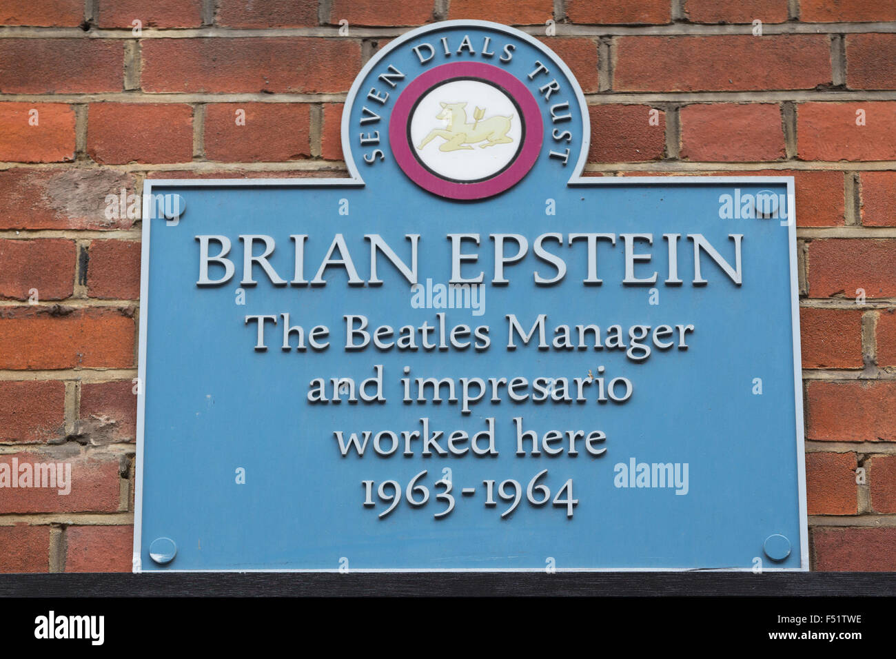 Brian Epstein honoured with Blue Plaque at 13 Monmouth Street, Seven Dials, Covent Garden, London, UK - Stock Image
