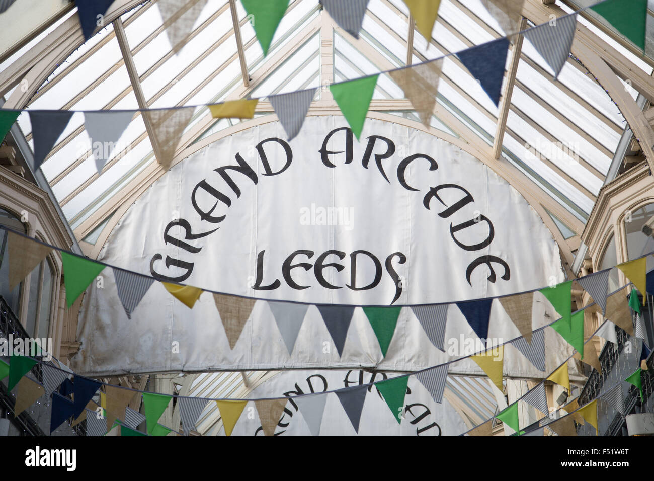 The Grand Arcade shopping precinct in Leeds, West Yorkshire, UK. The Grade II-listed Victorian shopping arcade was - Stock Image
