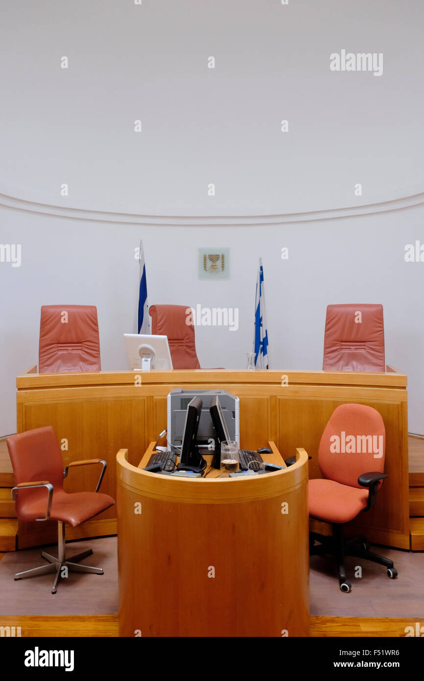 Judgeu0027s chairs in an empty courtroom inside the Supreme Court of Israel building in West Jerusalem Israel & Judgeu0027s chairs in an empty courtroom inside the Supreme Court of ...
