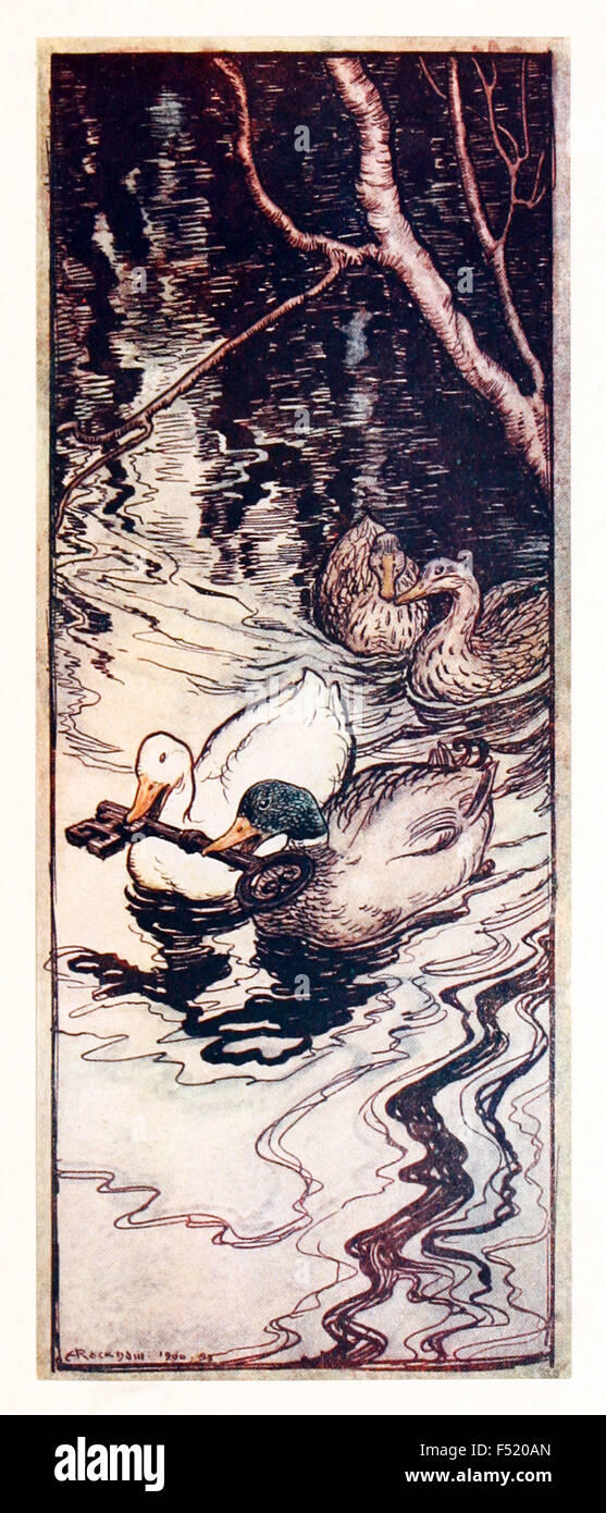 'The Ducks, which he had once saved, dived and brought up the key from the depths.' from 'The Queen - Stock Image