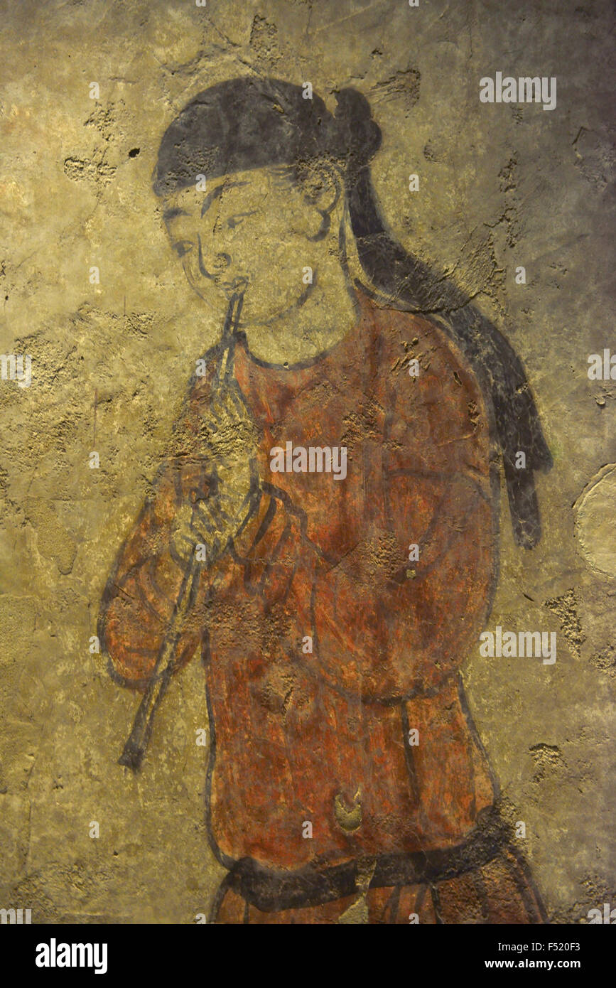 Tang Dynasty tomb murals. Shanxi Museum in Xi'an, China. - Stock Image