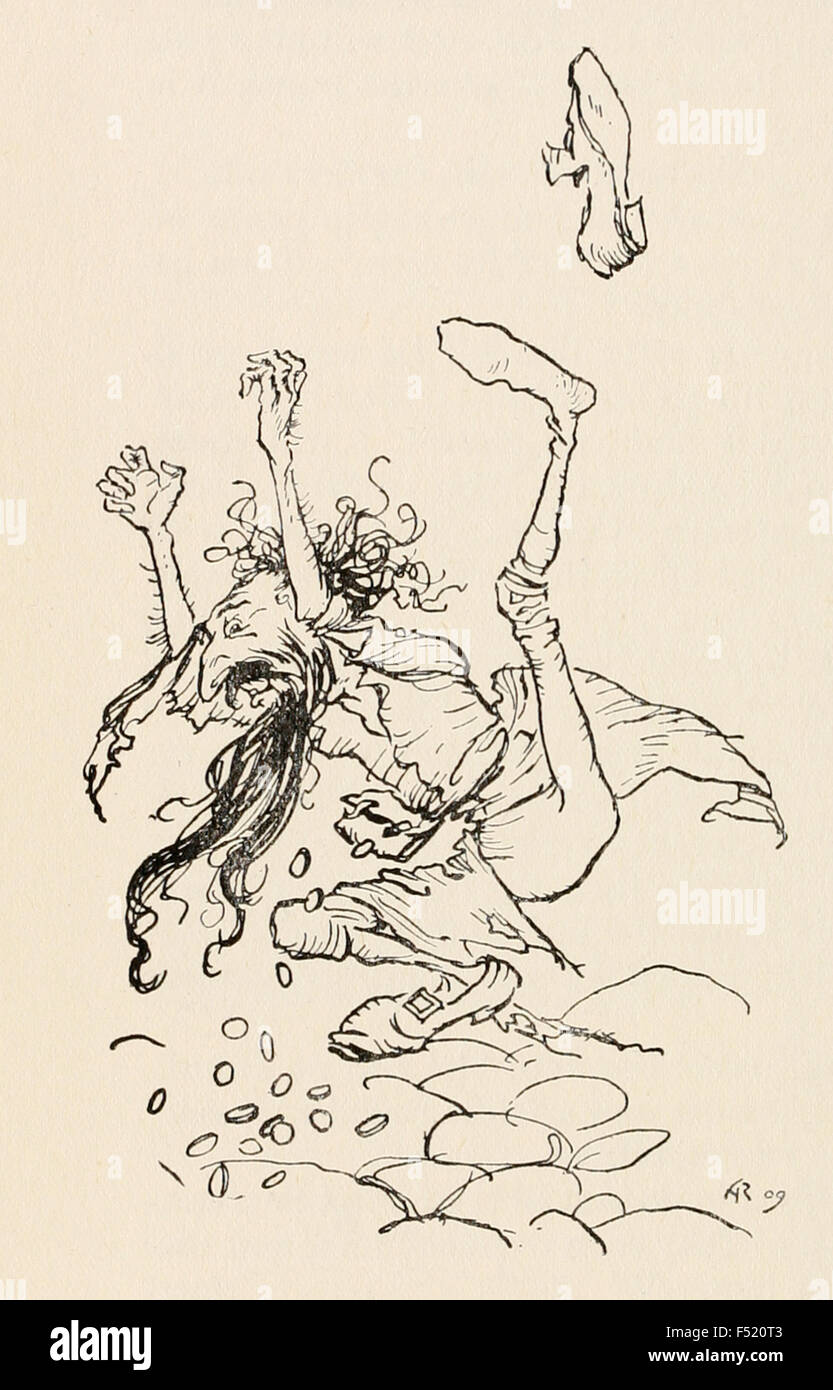 The selfish master is forced to dance and gold falls from his purse, from 'The Jew Among the Thorns' in - Stock Image