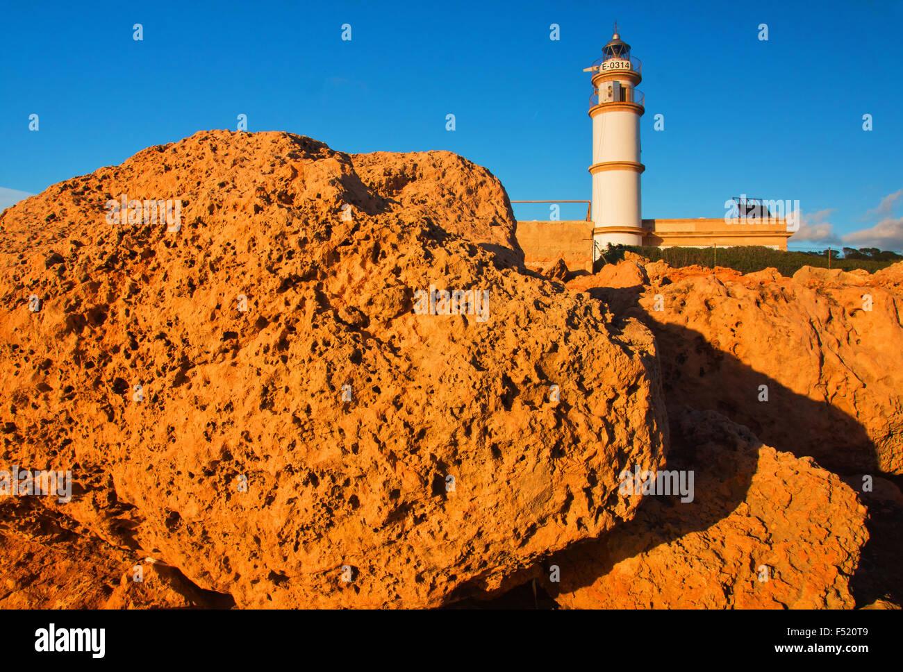 Leuchtturm Cap de ses Salines, südlichster Punkt der Insel Mallorca, - Stock Image