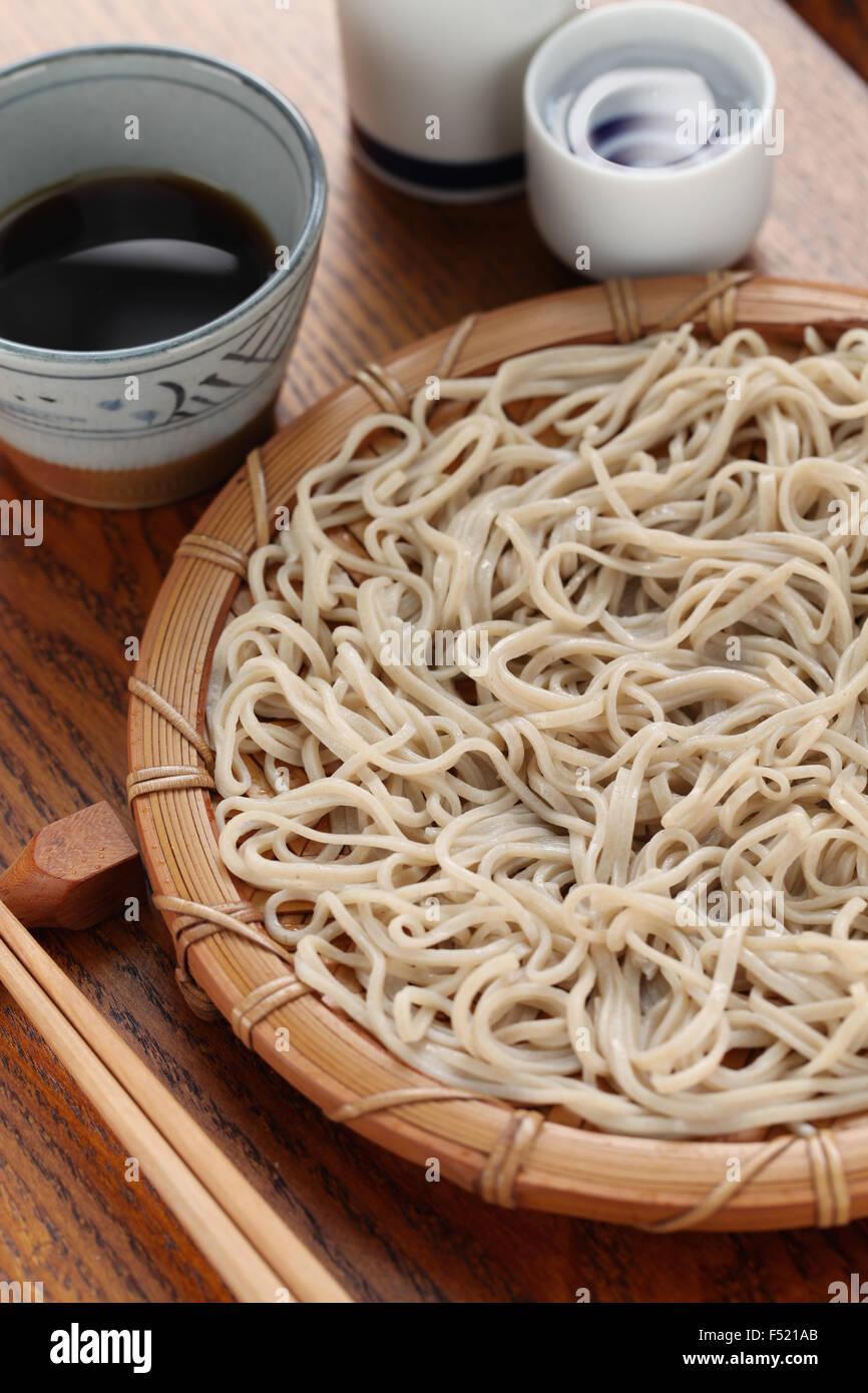 mori soba, cold buckwheat noodles, japanese food - Stock Image