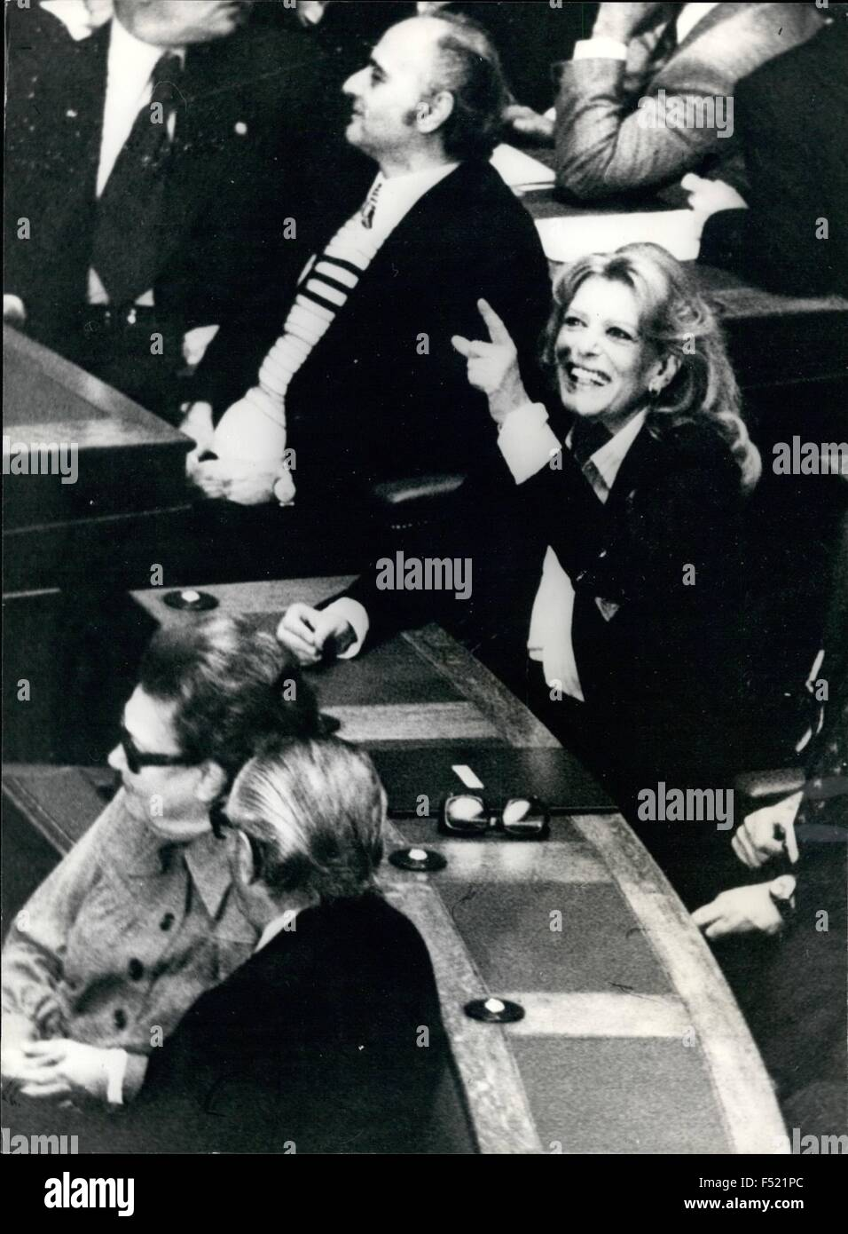 1972 - Melina takes her seat: Melina Mercouri (never on Sunday) who was recently elected as a member of Parliament - Stock Image
