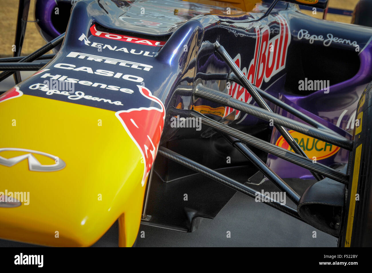 Front of the Red Bull Formula One racing car. - Stock Image