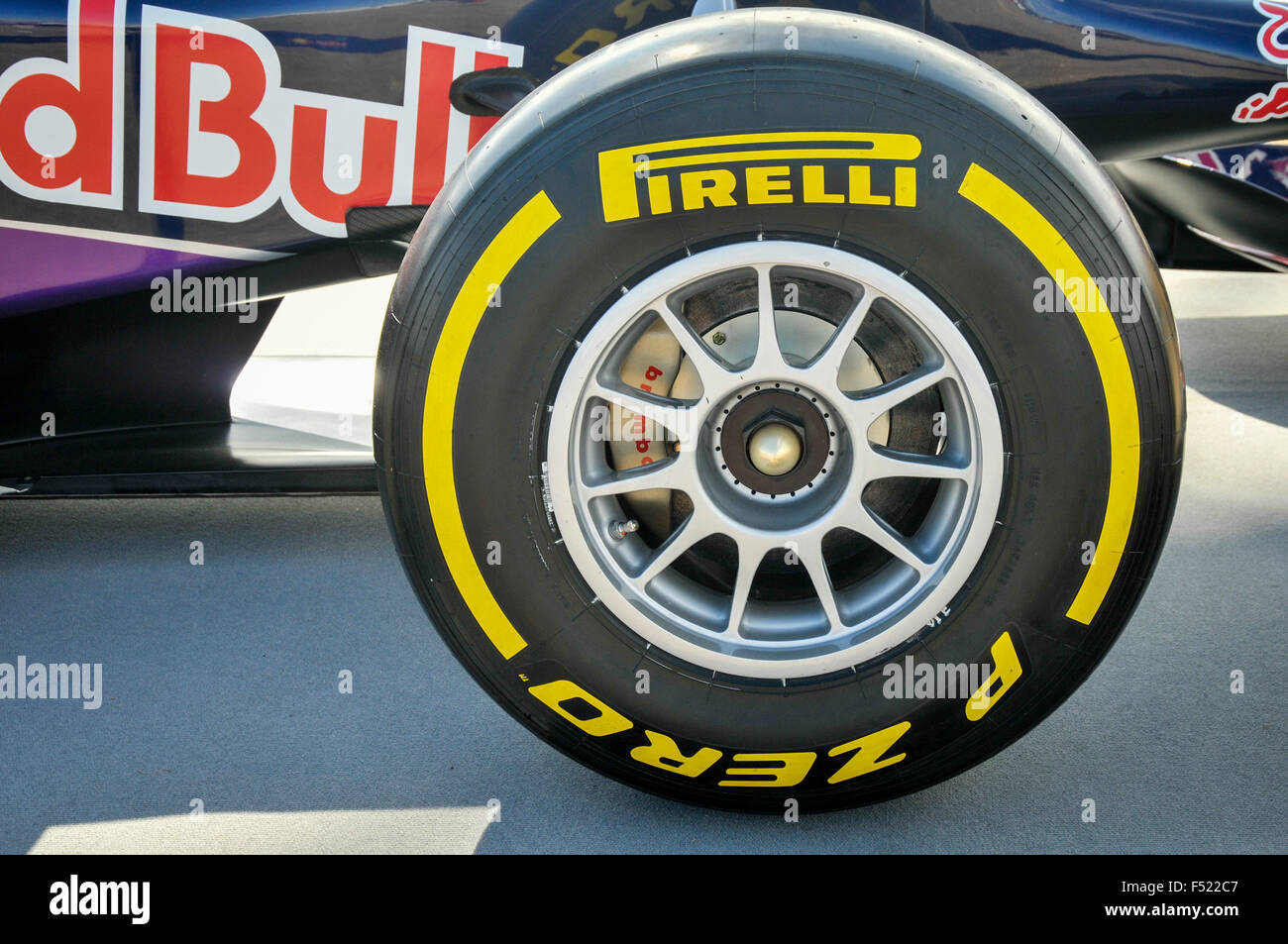 Pirelli 'slick' tyre on the front of a Red Bull Formula One race car. - Stock Image