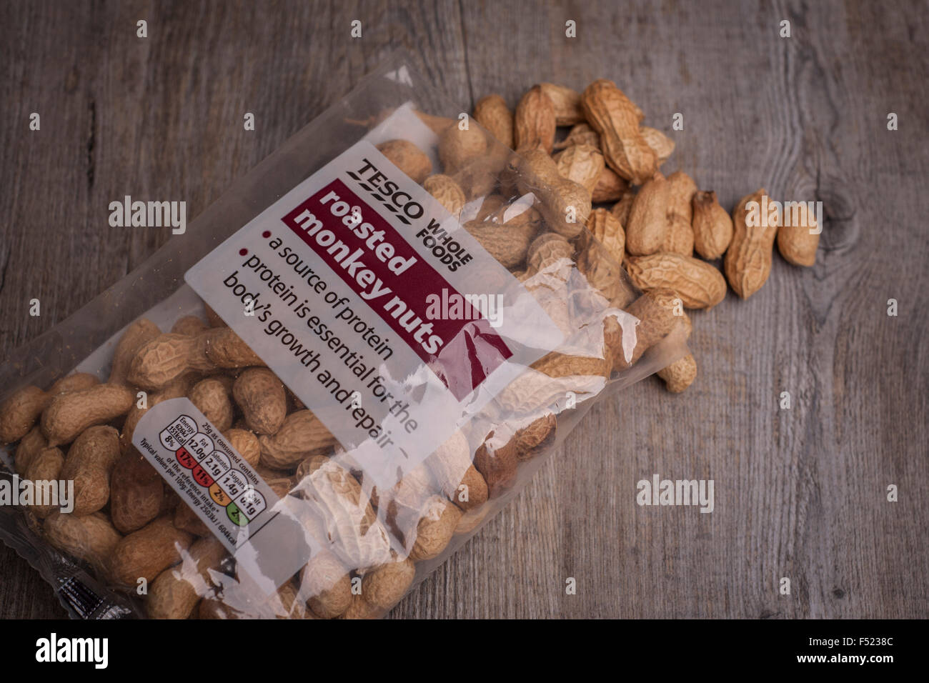bag of Tesco monkey nuts showing RDA label - Stock Image