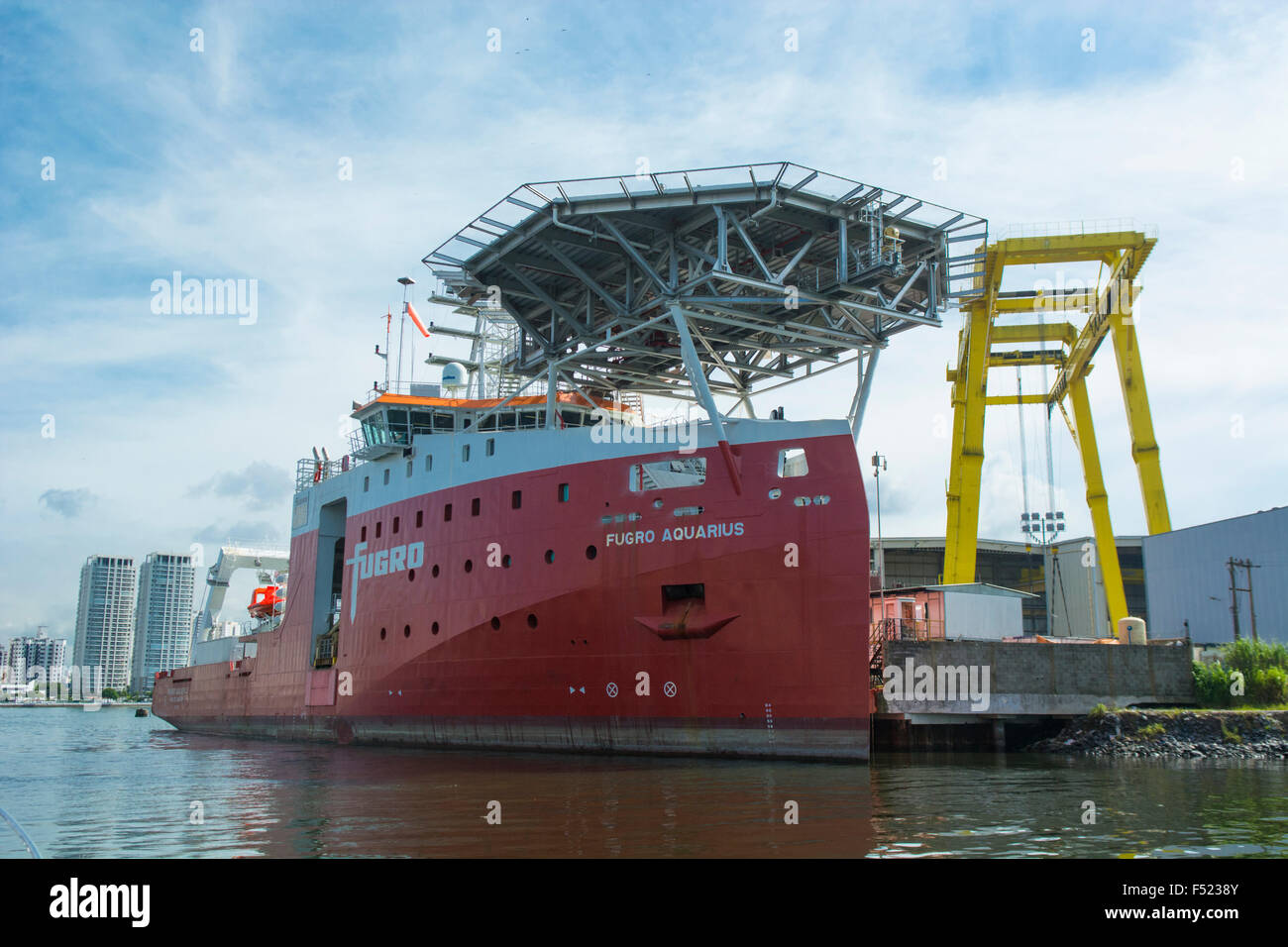 Fugro Aquarius ROV deep water offshore vessel built and moored at Wilson sons shipyard in Guarujá city, SP, - Stock Image