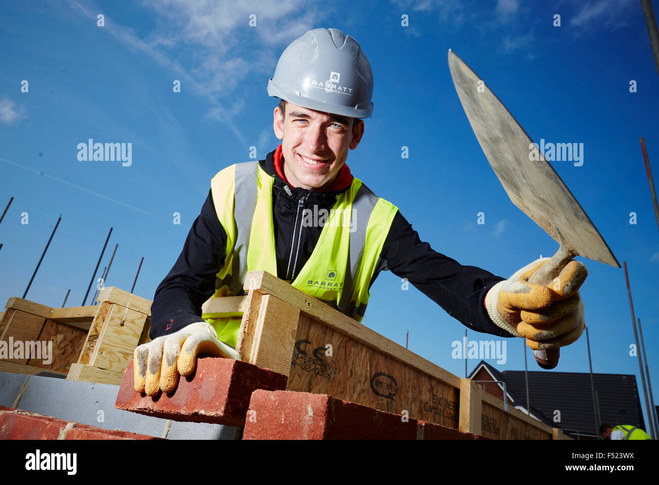 Barratt have recently appointed a number of apprentices, pictured Anthony Atkinson a bricklayer at Imagine Park - Stock Image