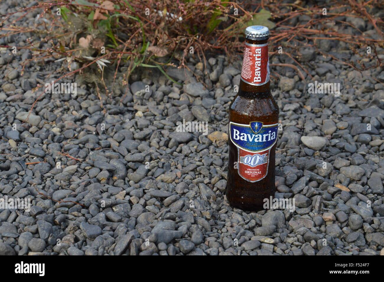 illustrative bottle non alcoholic beer Bavaria in nature - Stock Image