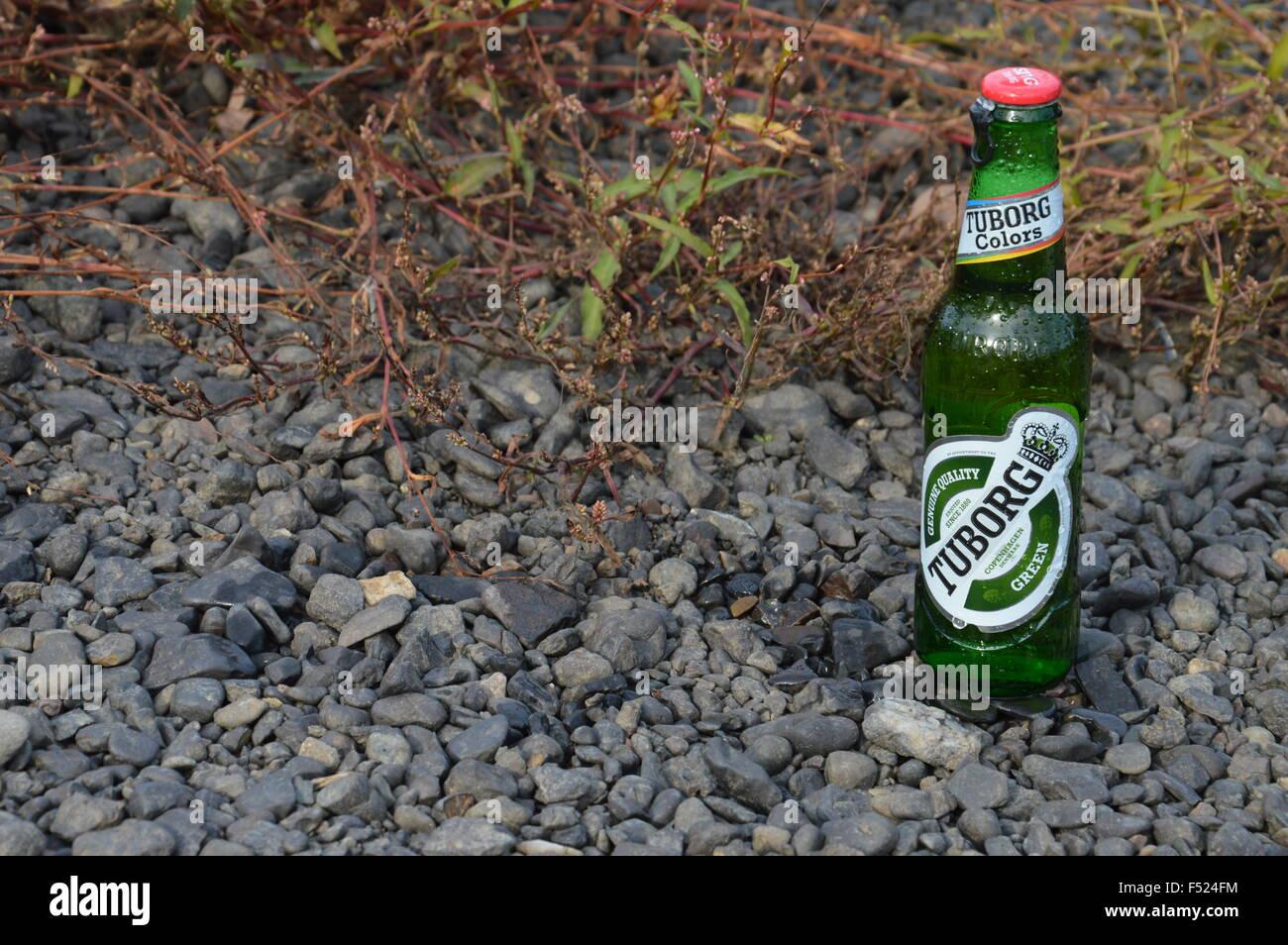 illustrative bottle alcoholic beer Tuborg in nature - Stock Image
