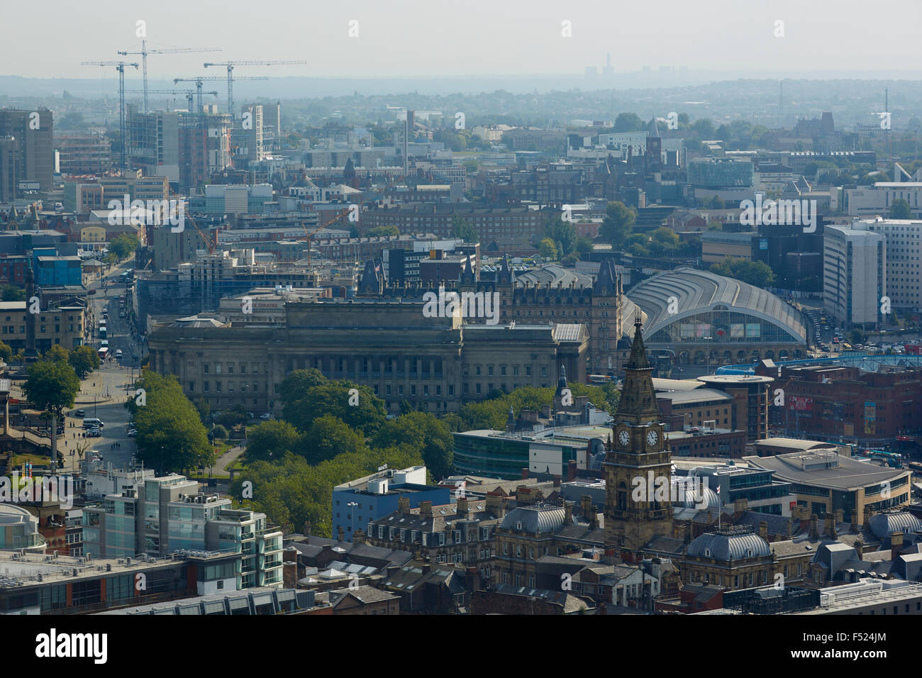 Liverpool Lime Street railway terminus station exterior  area of liverpool   Skyline high viewpoint landmark attraction - Stock Image