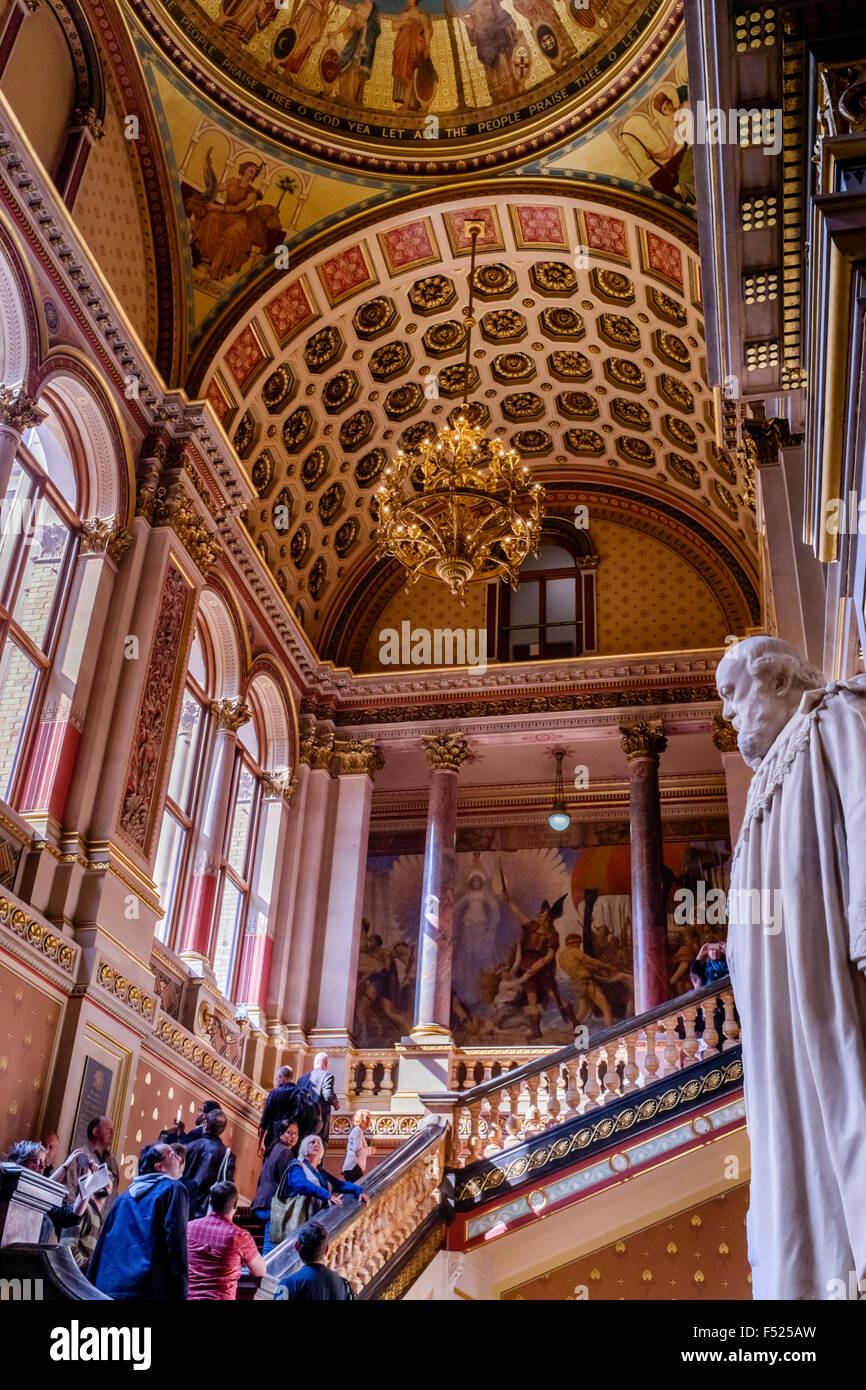 The Grand Staircase and ornate ceiling of the United Kingdom Foreign and Commonwealth Office, Westminster, London, Stock Photo