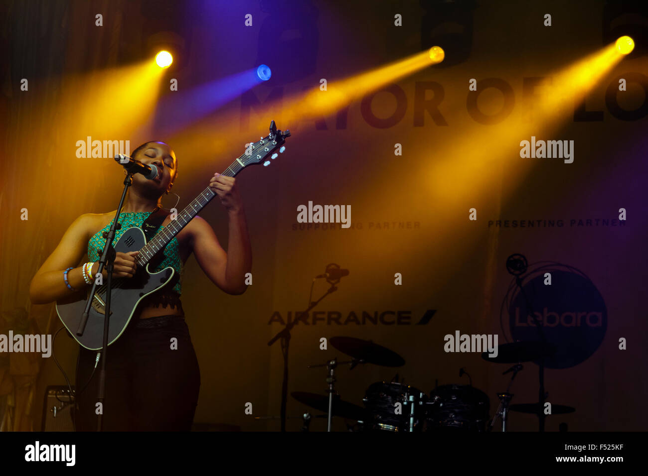 Kemi Aneke, performing on stage at  Africa on the Square, Trafalgar Square, 2015. - Stock Image
