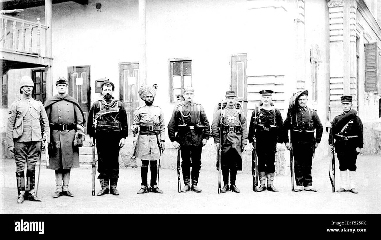 BOXER REBELLION 1899-1901 Soldiers from the eight nation alliance pose in 1900. From left: UK, USA, Australia, India,Germany,France, - Stock Image